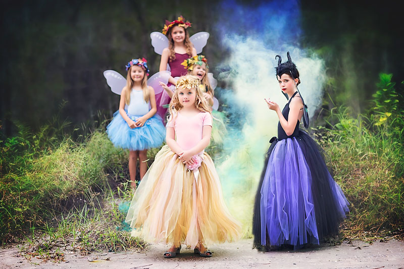 Little Miss Priness Tutu Maleficent Commercial Photography - Sea Flowers Photography - Jupiter Child Fantasy Photography