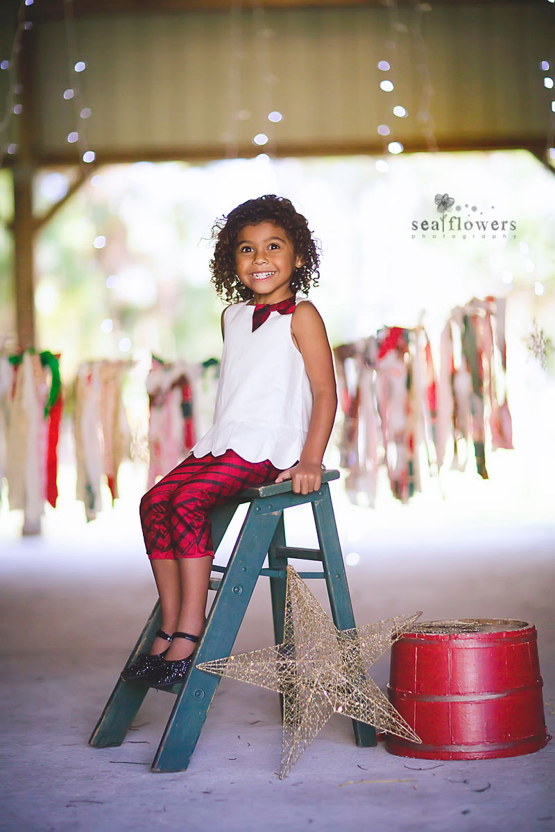 Jupiter Florida Barn Studio Child Christmas Mini Photography - Sea Flowers Photography