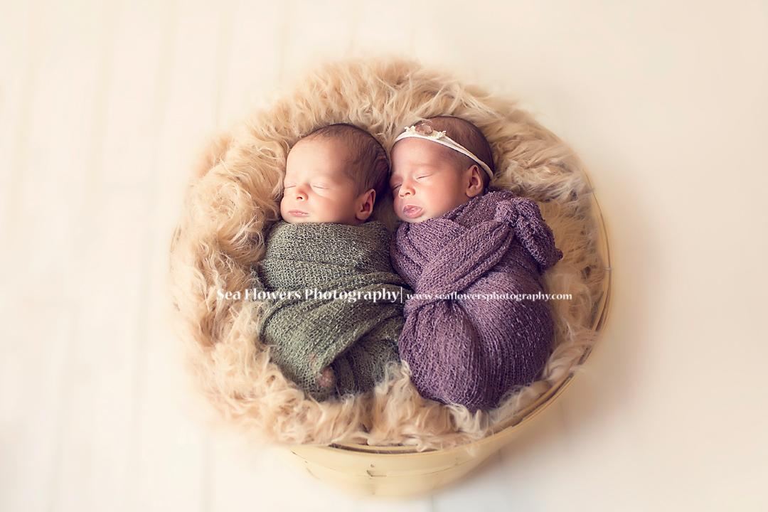 Sea Flowers Photography - Newborn Twin Photography - Jupiter Florida Newborn Photographer