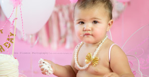 Jupiter Florida 1st Birthday Cake Smash Photographer - Sea flowers photography
