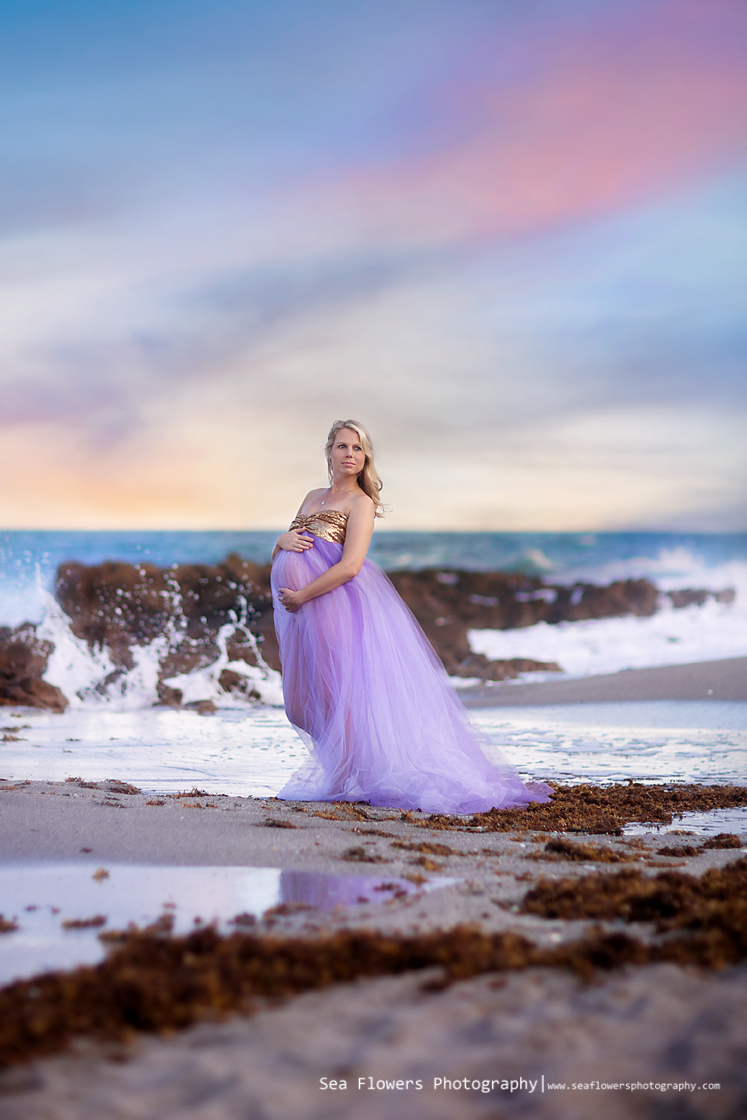 Jupiter Coral Cove Beach Maternity Photography - Sea Flowers Photography - Palm Beach Maternity Photographer