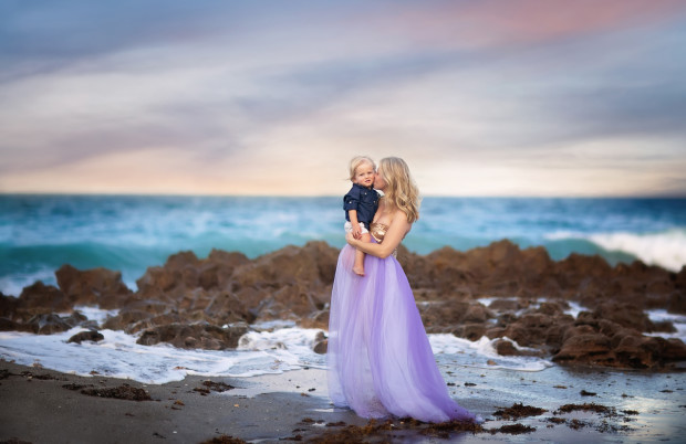 Jupiter Photographer - Beach Maternity - Mother and Son